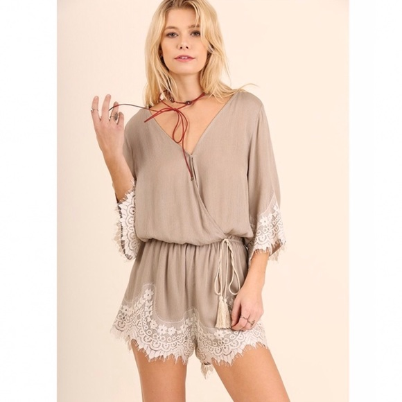 8594bf56cc2 Lace Trim Bell Sleeve Romper